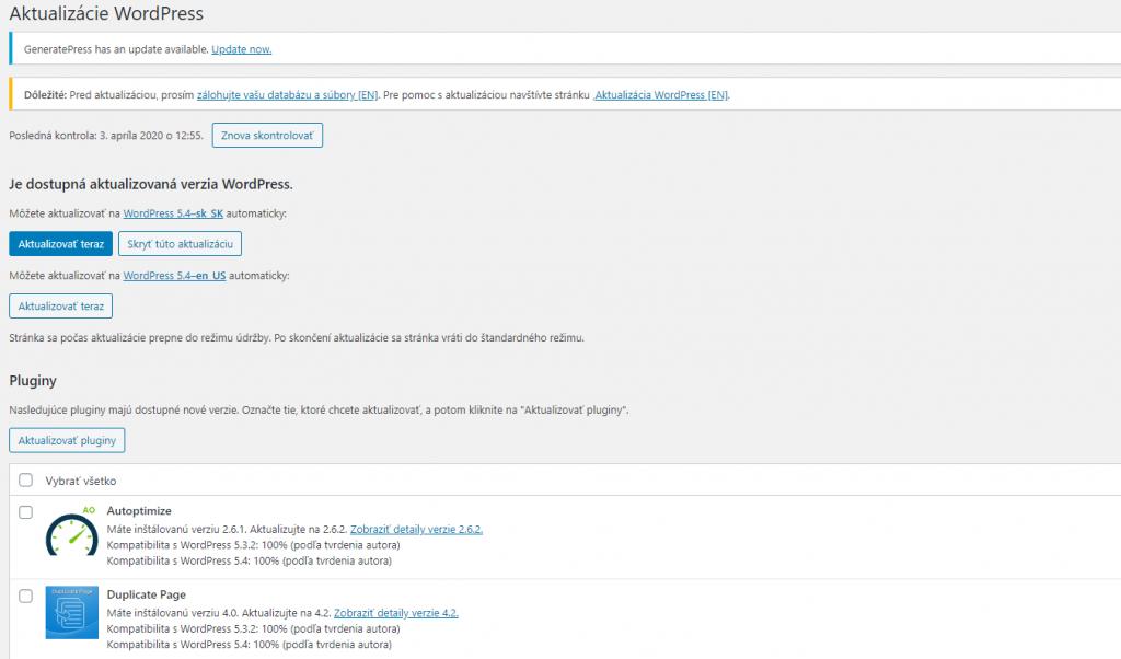 stránka aktualizácií vo WordPresse