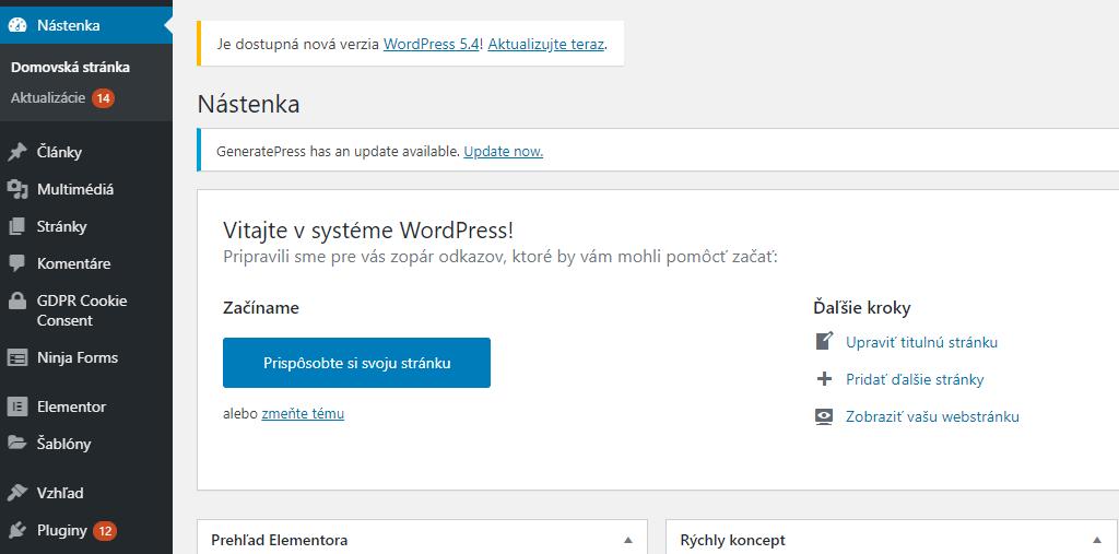 notifikácie aktualizácií na WordPress webovej stránke