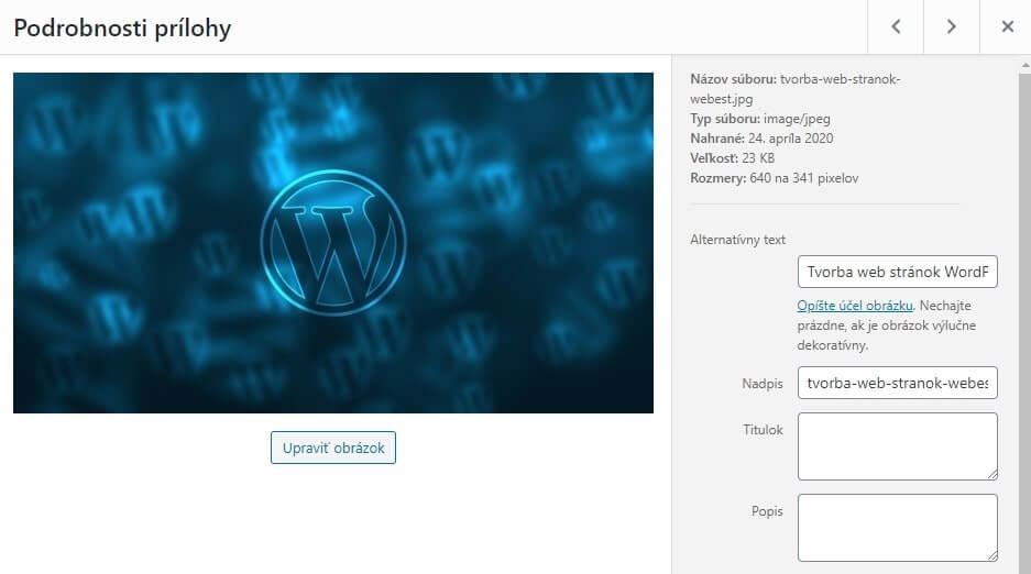 Wordpress úprava obrázka