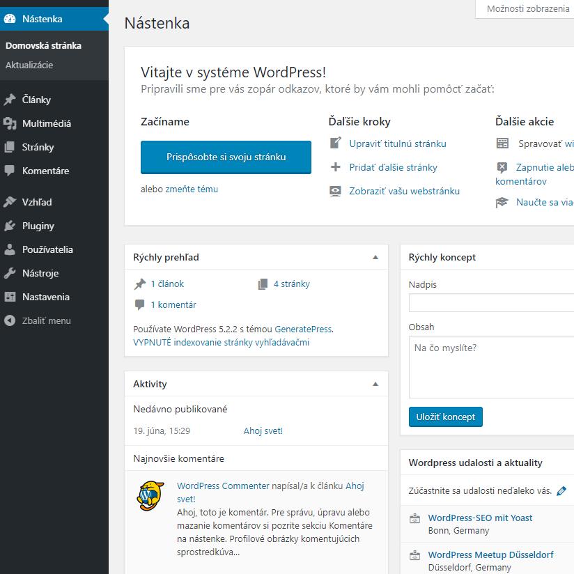 tvorba webových stránok WordPress