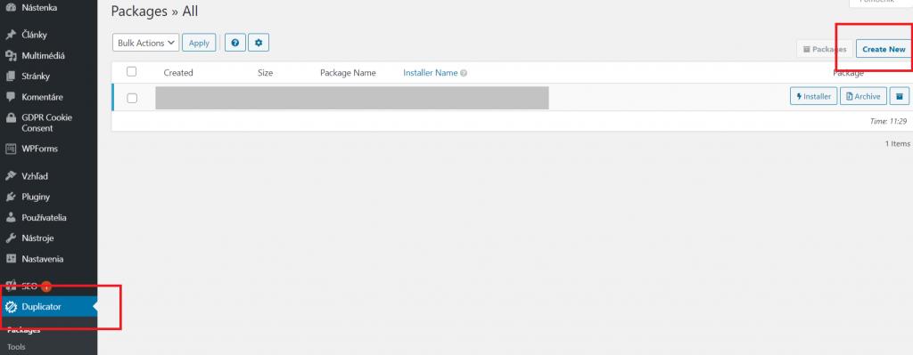 záloha webovej stránky cez Duplicator Packages