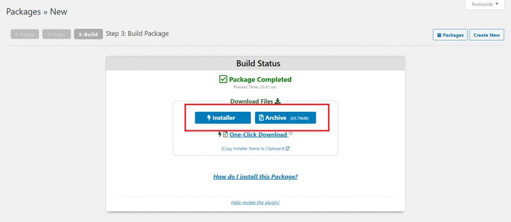 záloha webovej stránky cez Duplicator 3.krok